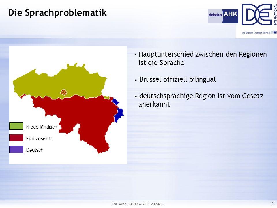 RA Arnd Helfer – AHK debelux 12 Die Sprachproblematik Hauptunterschied zwischen den Regionen ist die Sprache Brüssel offiziell bilingual deutschsprachige Region ist vom Gesetz anerkannt Niederländisch Französisch Deutsch
