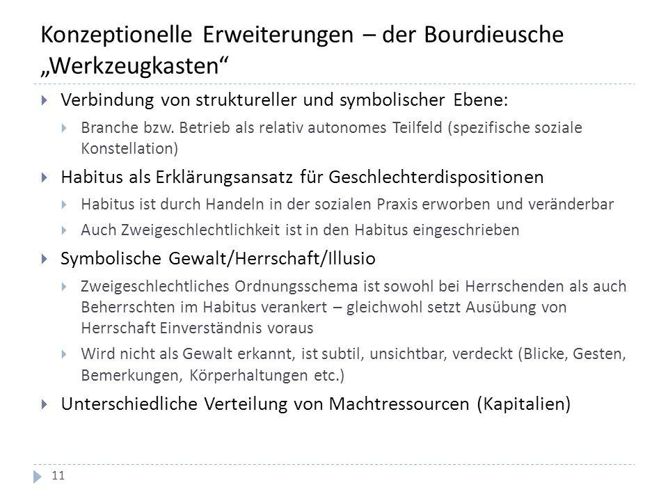 """Konzeptionelle Erweiterungen – der Bourdieusche """"Werkzeugkasten""""  Verbindung von struktureller und symbolischer Ebene:  Branche bzw. Betrieb als rel"""