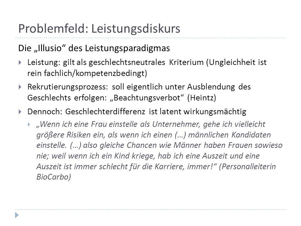 """Problemfeld: Leistungsdiskurs Die """"Illusio"""" des Leistungsparadigmas  Leistung: gilt als geschlechtsneutrales Kriterium (Ungleichheit ist rein fachlic"""