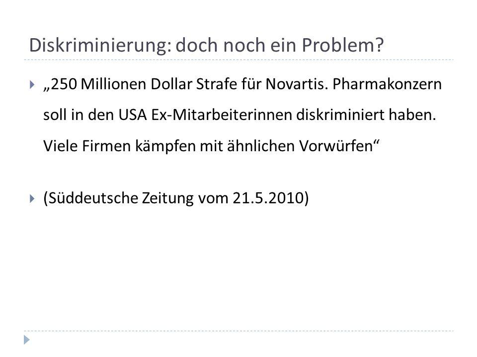 """Diskriminierung: doch noch ein Problem?  """"250 Millionen Dollar Strafe für Novartis. Pharmakonzern soll in den USA Ex-Mitarbeiterinnen diskriminiert h"""