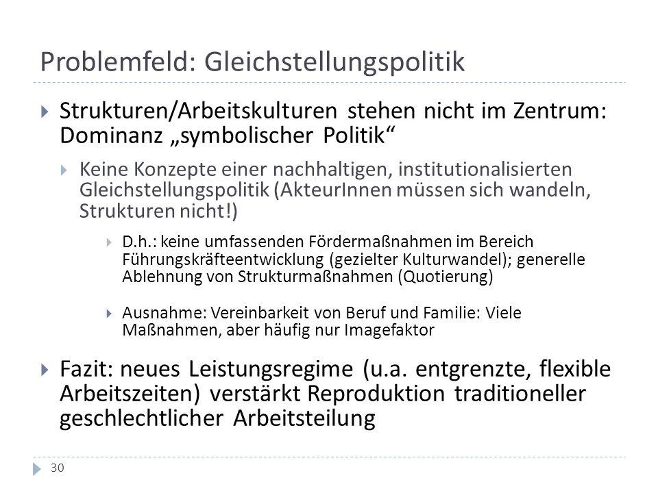 """Problemfeld: Gleichstellungspolitik  Strukturen/Arbeitskulturen stehen nicht im Zentrum: Dominanz """"symbolischer Politik""""  Keine Konzepte einer nachh"""