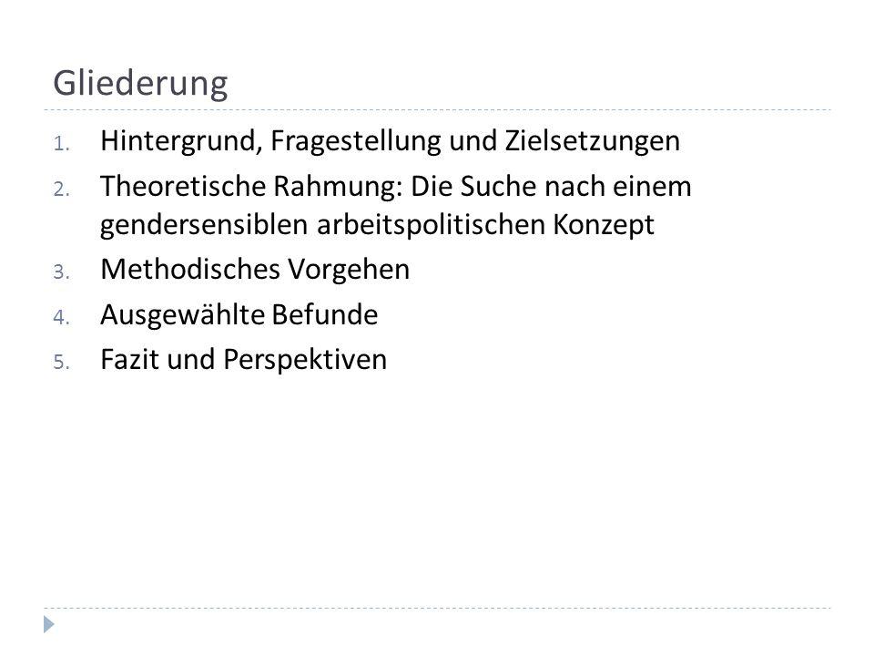 Gliederung 1. Hintergrund, Fragestellung und Zielsetzungen 2. Theoretische Rahmung: Die Suche nach einem gendersensiblen arbeitspolitischen Konzept 3.