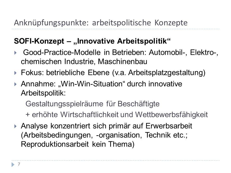 """Anknüpfungspunkte: arbeitspolitische Konzepte SOFI-Konzept – """"Innovative Arbeitspolitik  Good-Practice-Modelle in Betrieben: Automobil-, Elektro-, chemischen Industrie, Maschinenbau  Fokus: betriebliche Ebene (v.a."""