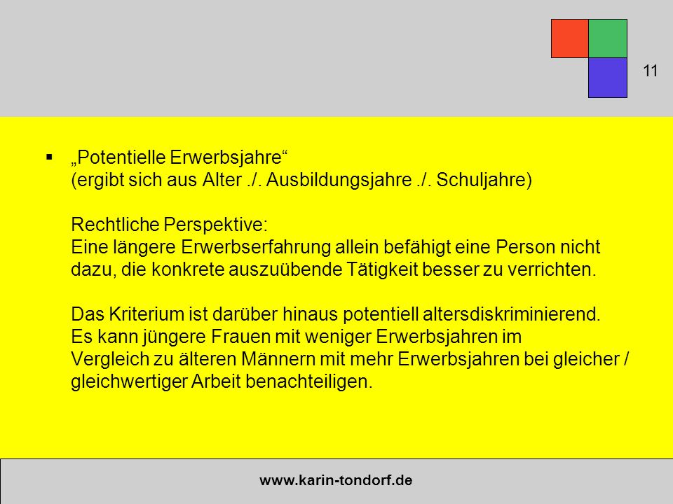""" """"Potentielle Erwerbsjahre (ergibt sich aus Alter./."""