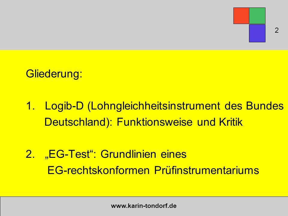 """Gliederung: 1.Logib-D (Lohngleichheitsinstrument des Bundes Deutschland): Funktionsweise und Kritik 2.""""EG-Test : Grundlinien eines EG-rechtskonformen Prüfinstrumentariums www.karin-tondorf.de 2"""