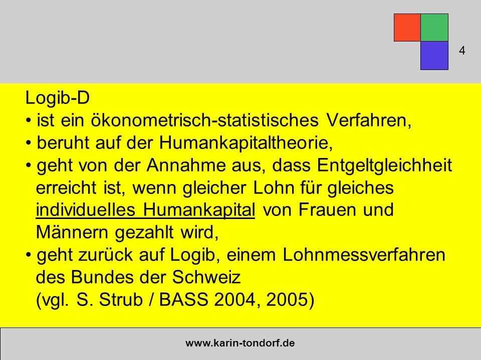 www.karin-tondorf.de Logib-D ist ein ökonometrisch-statistisches Verfahren, beruht auf der Humankapitaltheorie, geht von der Annahme aus, dass Entgelt