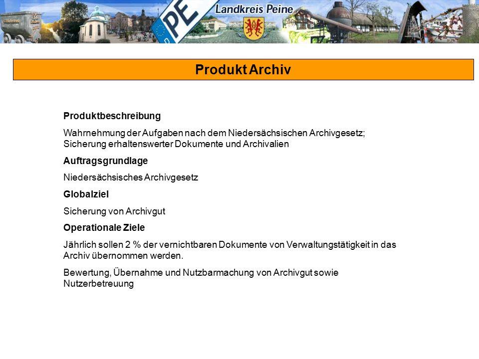 Produkt Archiv Produktbeschreibung Wahrnehmung der Aufgaben nach dem Niedersächsischen Archivgesetz; Sicherung erhaltenswerter Dokumente und Archivali