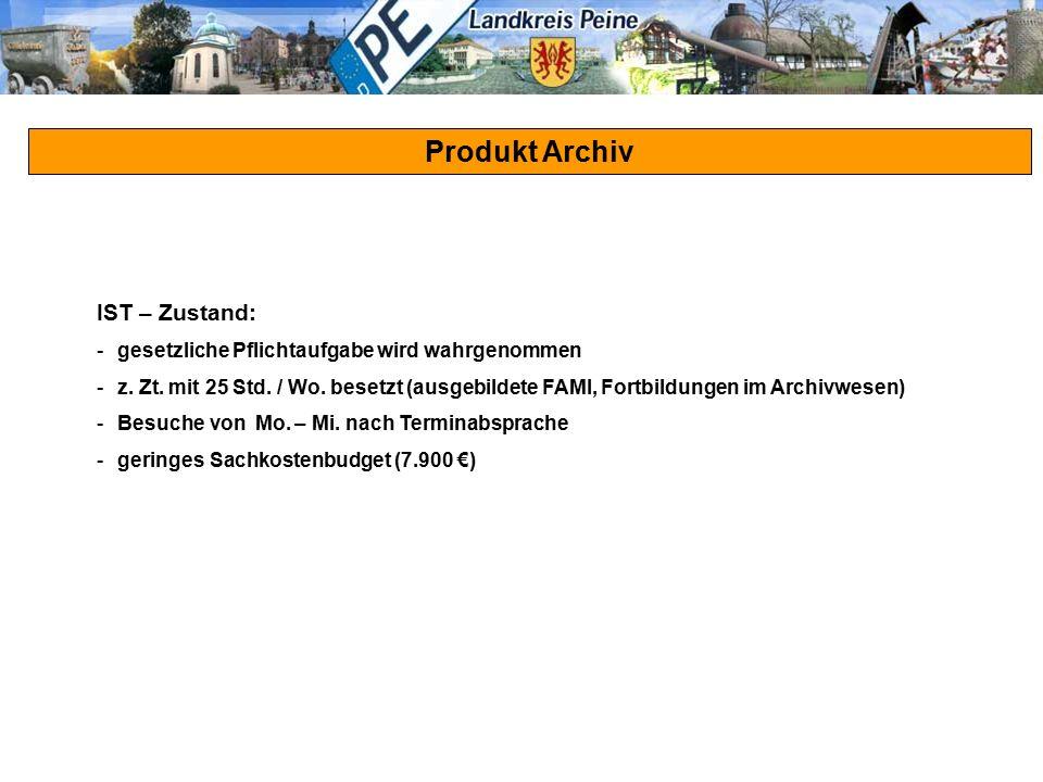 Produkt Archiv IST – Zustand: -gesetzliche Pflichtaufgabe wird wahrgenommen -z. Zt. mit 25 Std. / Wo. besetzt (ausgebildete FAMI, Fortbildungen im Arc