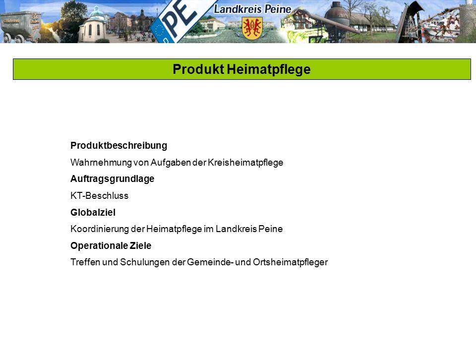 Produkt Heimatpflege Produktbeschreibung Wahrnehmung von Aufgaben der Kreisheimatpflege Auftragsgrundlage KT-Beschluss Globalziel Koordinierung der He