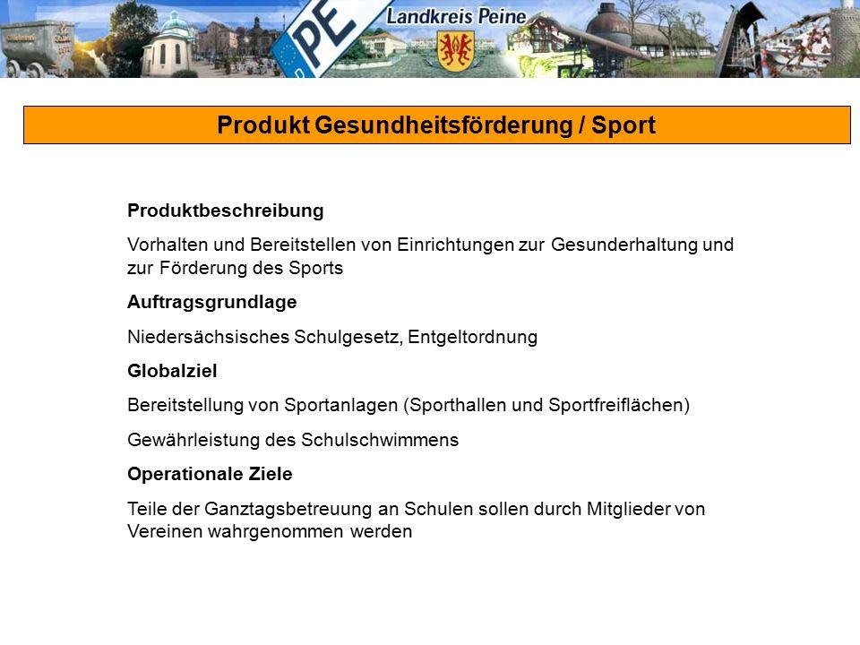 Produkt Gesundheitsförderung / Sport Produktbeschreibung Vorhalten und Bereitstellen von Einrichtungen zur Gesunderhaltung und zur Förderung des Sport