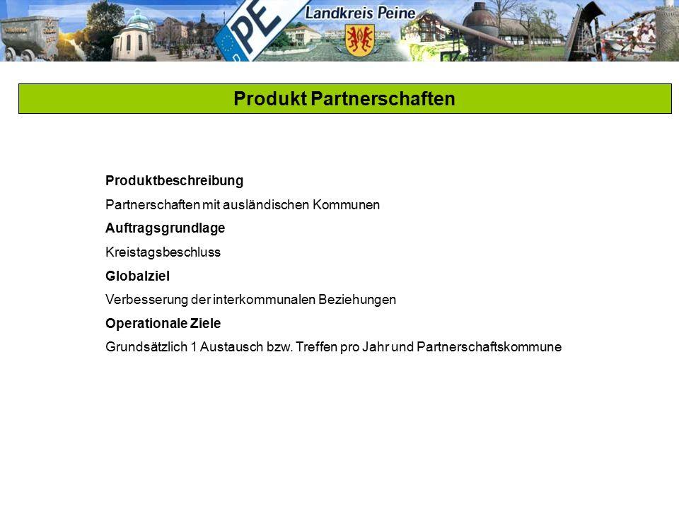 Produkt Partnerschaften Produktbeschreibung Partnerschaften mit ausländischen Kommunen Auftragsgrundlage Kreistagsbeschluss Globalziel Verbesserung de
