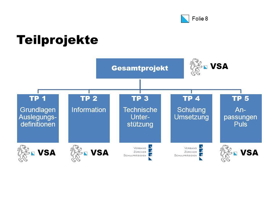 Folie 8 Teilprojekte Gesamtprojekt TP 1 Grundlagen Auslegungs- definitionen TP 2 Information TP 3 Technische Unter- stützung TP 4 Schulung Umsetzung TP 5 An- passungen Puls VSA