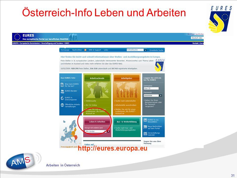 31 Arbeiten in Österreich Österreich-Info Leben und Arbeiten http://eures.europa.eu