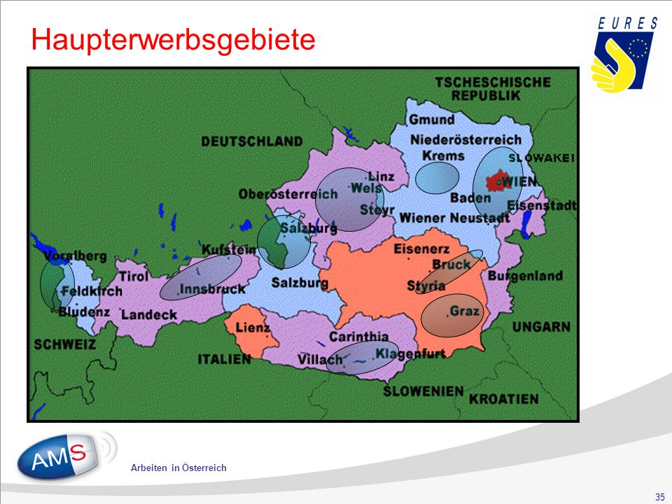 35 Arbeiten in Österreich Haupterwerbsgebiete