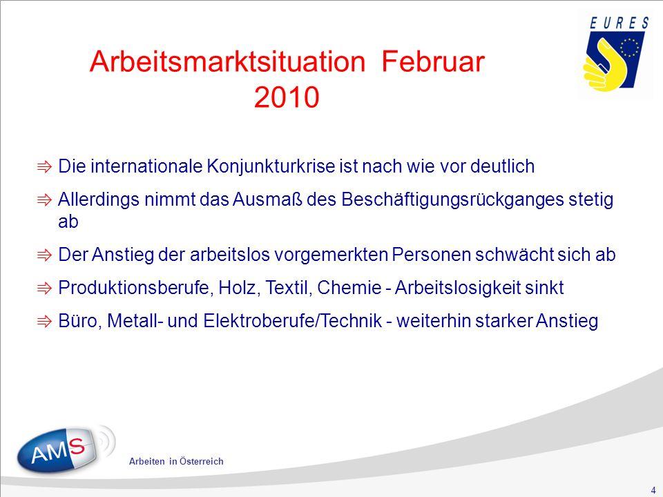 4 Arbeiten in Österreich Arbeitsmarktsituation Februar 2010 ⇛ Die internationale Konjunkturkrise ist nach wie vor deutlich ⇛ Allerdings nimmt das Ausmaß des Beschäftigungsrückganges stetig ab ⇛ Der Anstieg der arbeitslos vorgemerkten Personen schwächt sich ab ⇛ Produktionsberufe, Holz, Textil, Chemie - Arbeitslosigkeit sinkt ⇛ Büro, Metall- und Elektroberufe/Technik - weiterhin starker Anstieg