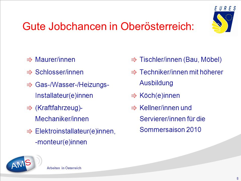 8 Arbeiten in Österreich Gute Jobchancen in Oberösterreich: ⇛ Maurer/innen ⇛ Schlosser/innen ⇛ Gas-/Wasser-/Heizungs- Installateur(e)innen ⇛ (Kraftfahrzeug)- Mechaniker/innen ⇛ Elektroinstallateur(e)innen, -monteur(e)innen ⇛ Tischler/innen (Bau, Möbel) ⇛ Techniker/innen mit höherer Ausbildung ⇛ Köch(e)innen ⇛ Kellner/innen und Servierer/innen für die Sommersaison 2010