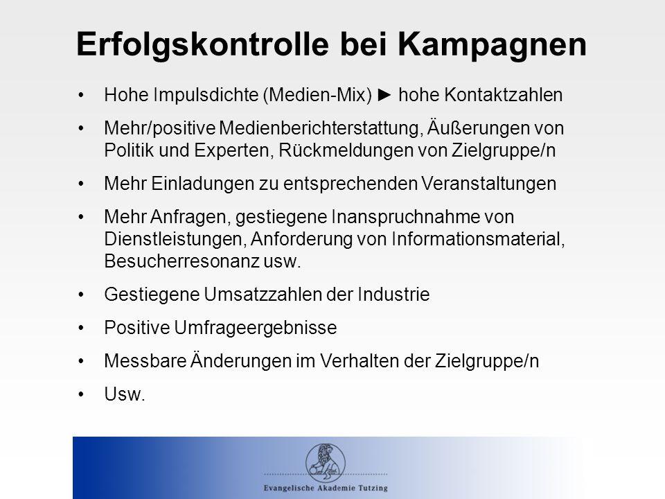 Erfolgskontrolle bei Kampagnen Hohe Impulsdichte (Medien-Mix) ► hohe Kontaktzahlen Mehr/positive Medienberichterstattung, Äußerungen von Politik und E