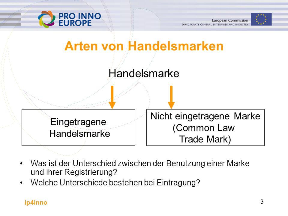 ip4inno 4 Eingetragene Marken Der Antrag auf Eintragung muss bei einer nationalen oder regionalen Markenbehörde gestellt werden Sobald eine Marke eingetragen ist; –soll der Eigentümer das exklusive Recht haben, die Marke für die Warenklassen und für die Dienstleistungsklassen zu benutzen, in denen sie registriert ist –erstreckt sie sich über die genaue Marke hinaus, die eingetragen wurde und auch über die genauen Warenklassen und Dienstleistungsklassen, für die sie eingetragen wurde –erstreckt sie sich auch auf ähnliche Marken und ähnliche Waren / Dienstleistungen, wenn wegen der Ähnlichkeit Verwirrung oder Verwechslungsgefahr im Markt entstehen könnte