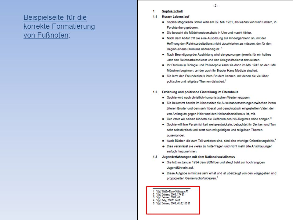 Beispielseite für die korrekte Formatierung von Fußnoten:
