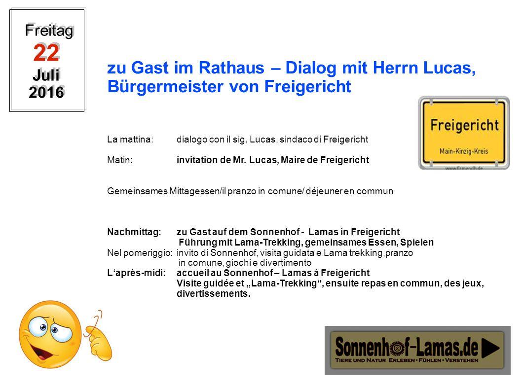 zu Gast im Rathaus – Dialog mit Herrn Lucas, Bürgermeister von Freigericht La mattina: dialogo con il sig.
