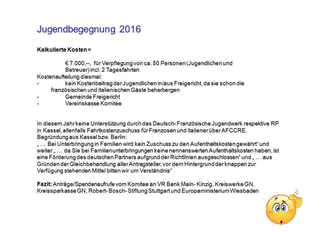 Jugendbegegnung 2016 Kalkulierte Kosten = € 7.000,--, für Verpflegung von ca.
