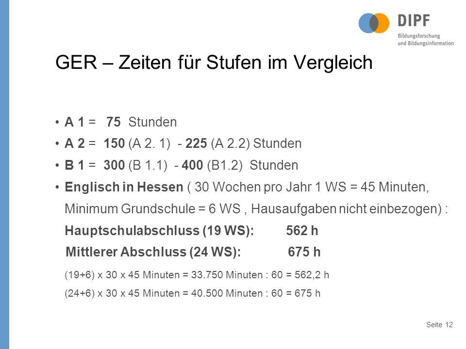 Seite12 GER – Zeiten für Stufen im Vergleich A 1 = 75 Stunden A 2 = 150 (A 2.