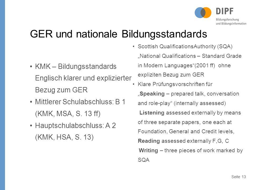 Seite13 GER und nationale Bildungsstandards KMK – Bildungsstandards Englisch klarer und explizierter Bezug zum GER Mittlerer Schulabschluss: B 1 (KMK, MSA, S.