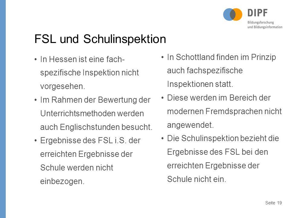 Seite19 FSL und Schulinspektion In Hessen ist eine fach- spezifische Inspektion nicht vorgesehen.