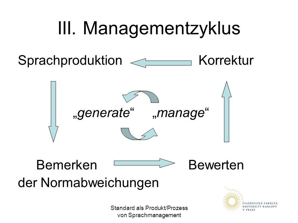 """Standard als Produkt/Prozess von Sprachmanagement III. Managementzyklus Sprachproduktion Korrektur """"generate"""" """"manage"""" Bemerken Bewerten der Normabwei"""