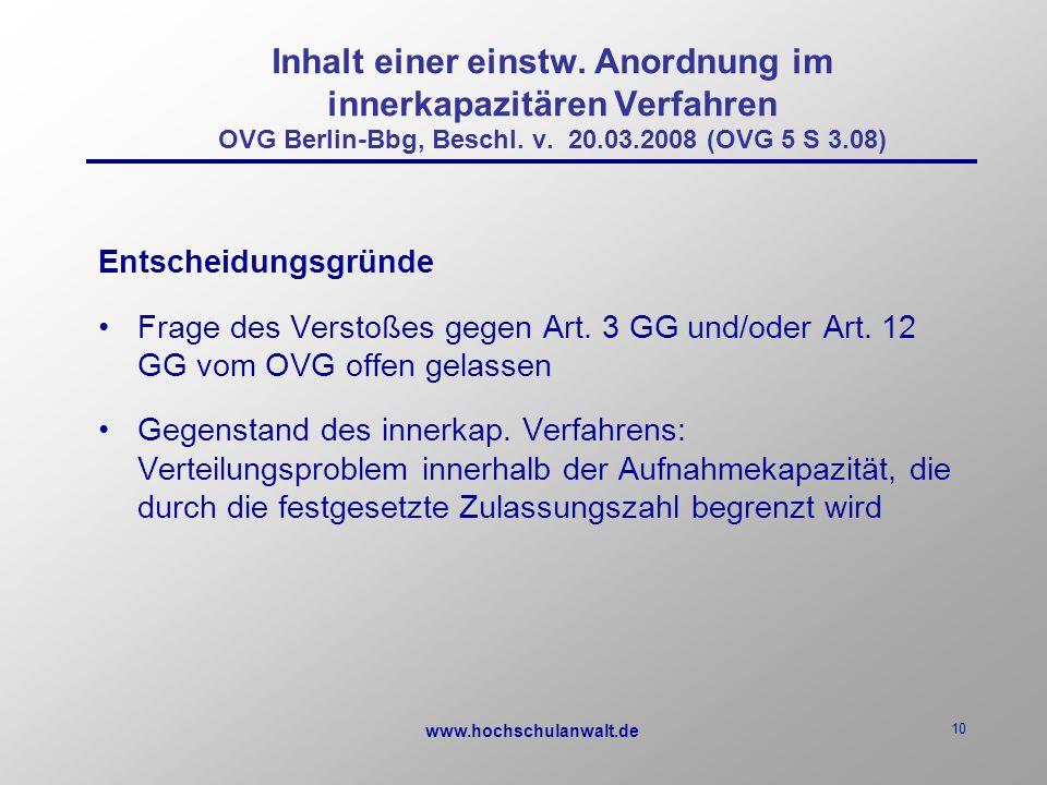 www.hochschulanwalt.de 10 Inhalt einer einstw.