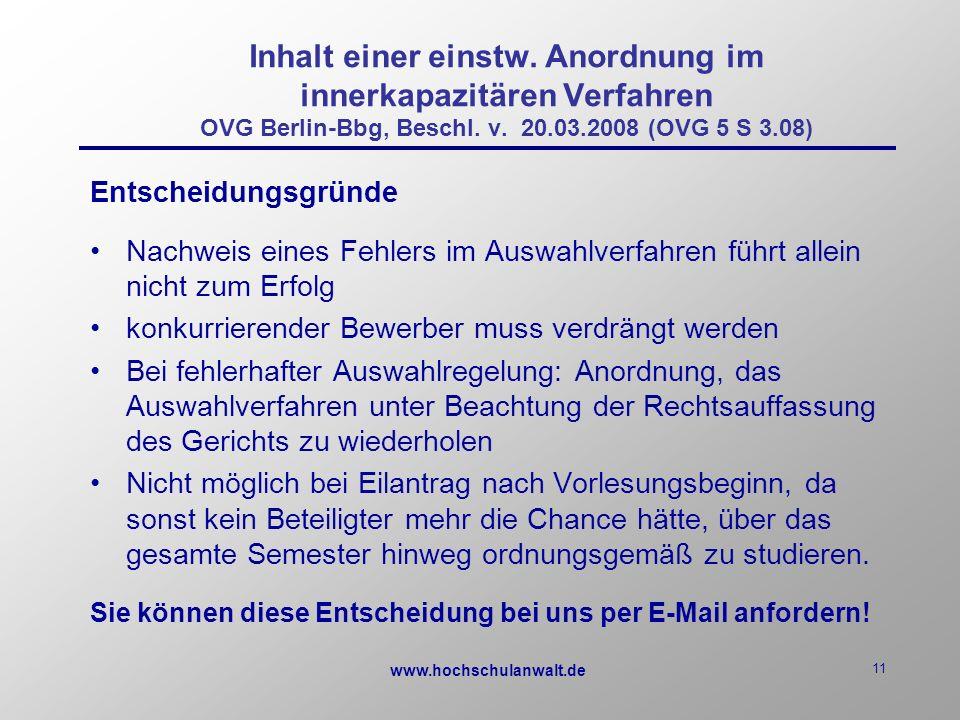 www.hochschulanwalt.de 11 Inhalt einer einstw.