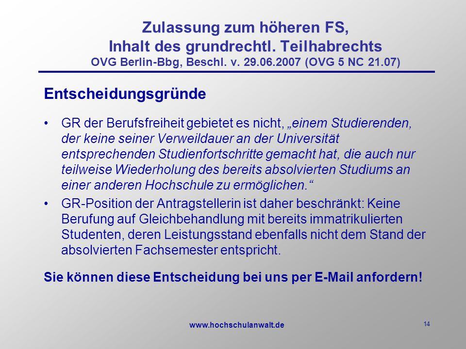 www.hochschulanwalt.de 14 Zulassung zum höheren FS, Inhalt des grundrechtl.