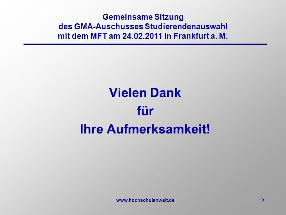 www.hochschulanwalt.de 15 Vielen Dank für Ihre Aufmerksamkeit.