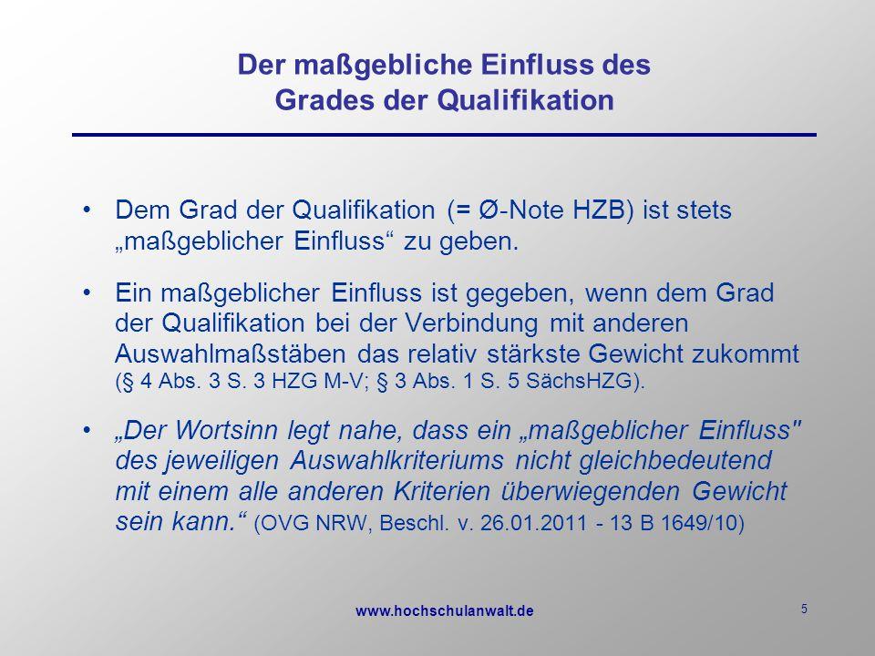 """www.hochschulanwalt.de 5 Der maßgebliche Einfluss des Grades der Qualifikation Dem Grad der Qualifikation (= Ø-Note HZB) ist stets """"maßgeblicher Einfluss zu geben."""