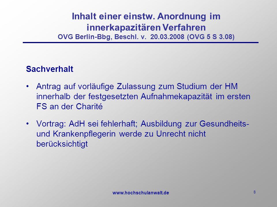 www.hochschulanwalt.de 8 Inhalt einer einstw.