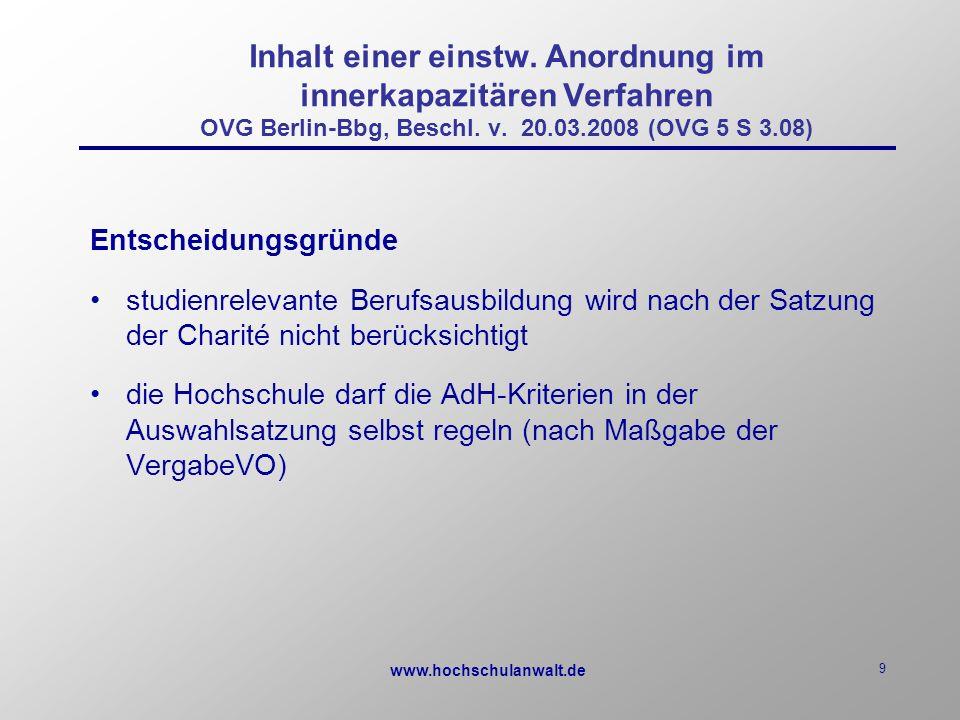www.hochschulanwalt.de 9 Inhalt einer einstw.