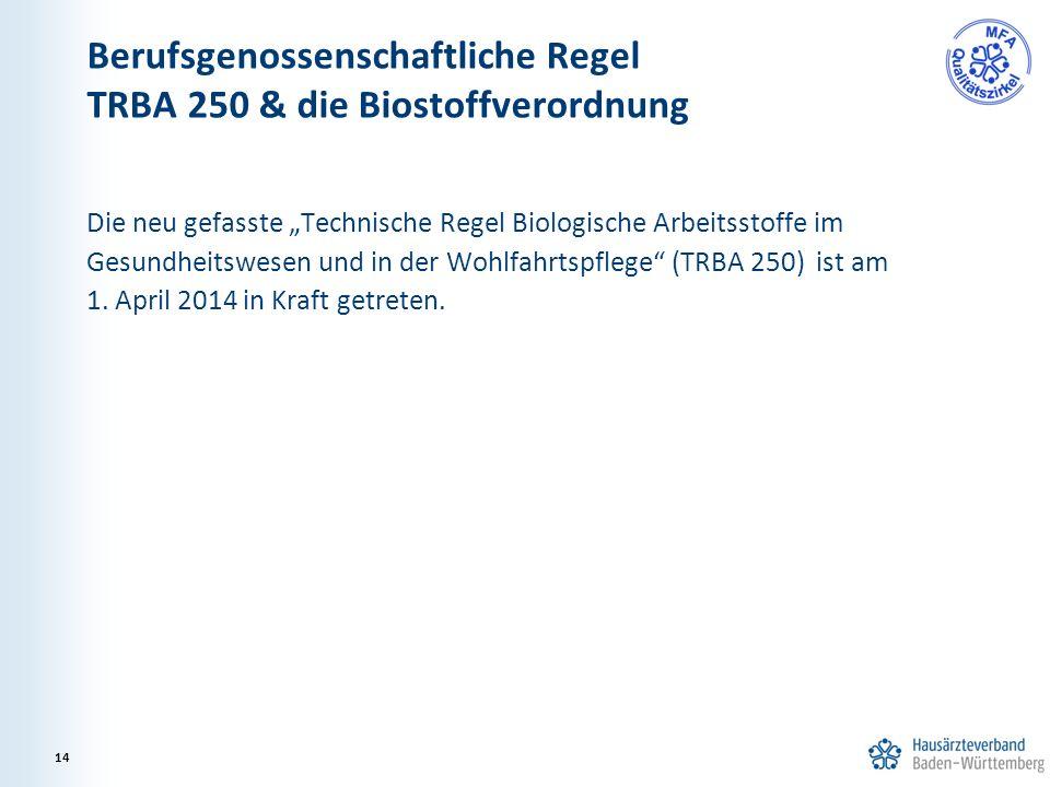 """Die neu gefasste """"Technische Regel Biologische Arbeitsstoffe im Gesundheitswesen und in der Wohlfahrtspflege"""" (TRBA 250) ist am 1. April 2014 in Kraft"""