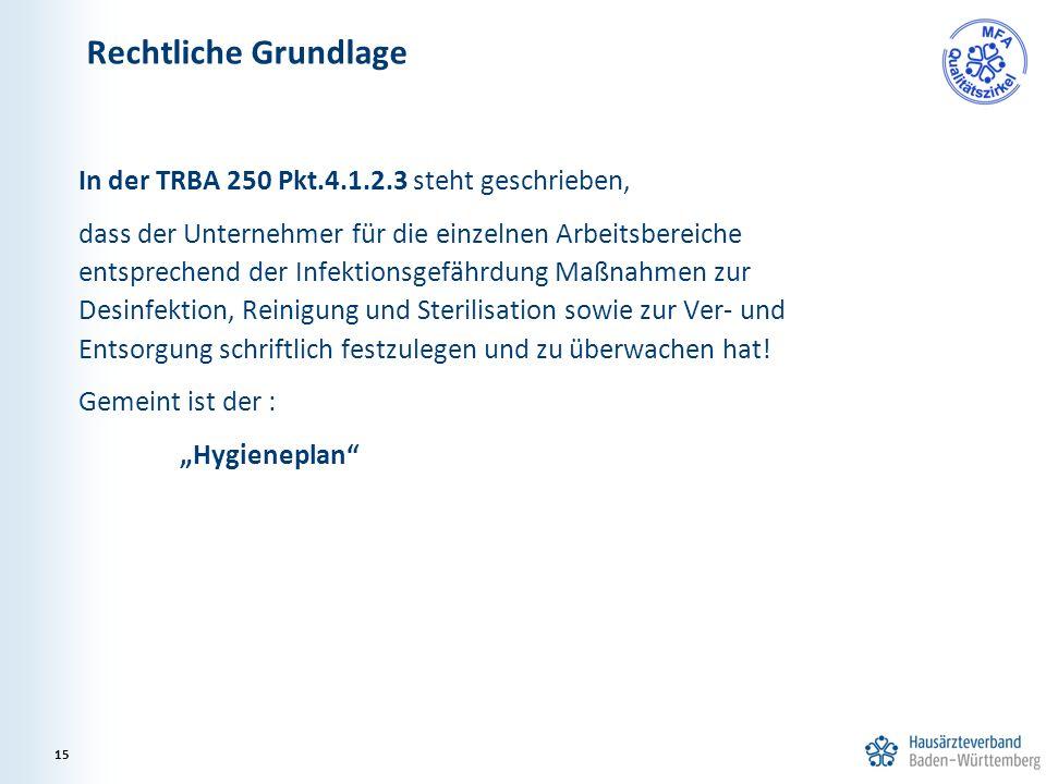 In der TRBA 250 Pkt.4.1.2.3 steht geschrieben, dass der Unternehmer für die einzelnen Arbeitsbereiche entsprechend der Infektionsgefährdung Maßnahmen