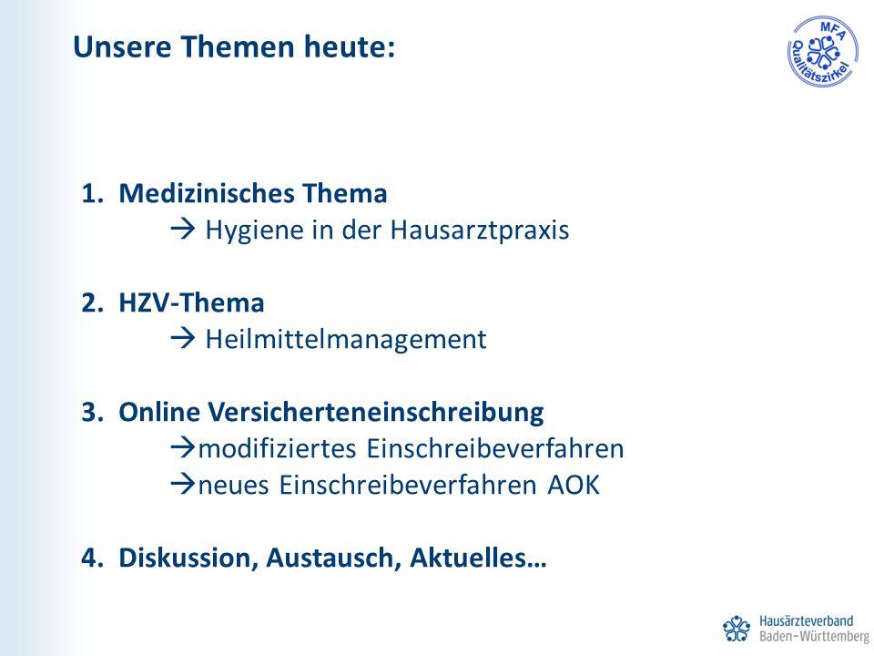 1. Medizinisches Thema  Hygiene in der Hausarztpraxis 2. HZV-Thema  Heilmittelmanagement 3. Online Versicherteneinschreibung  modifiziertes Einschr