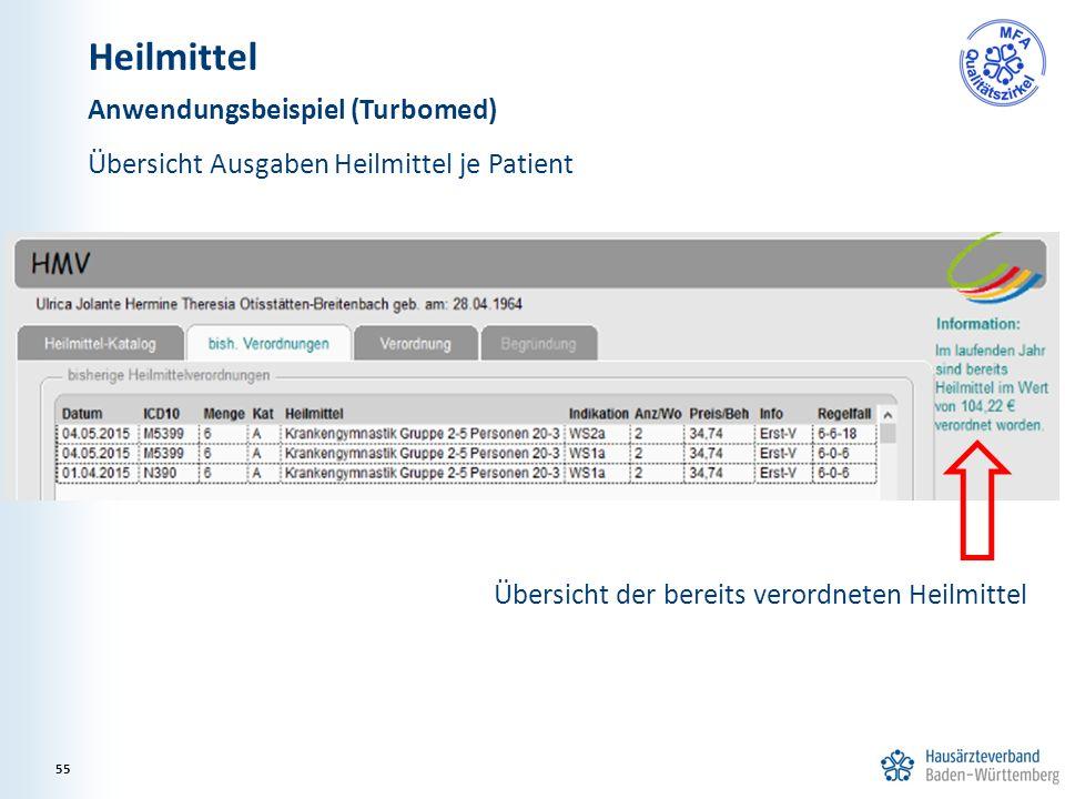 Heilmittel Anwendungsbeispiel (Turbomed) Übersicht Ausgaben Heilmittel je Patient Übersicht der bereits verordneten Heilmittel 55