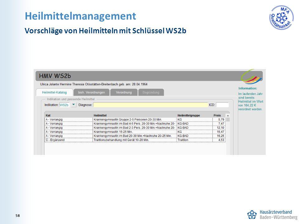 Heilmittelmanagement Vorschläge von Heilmitteln mit Schlüssel WS2b 58
