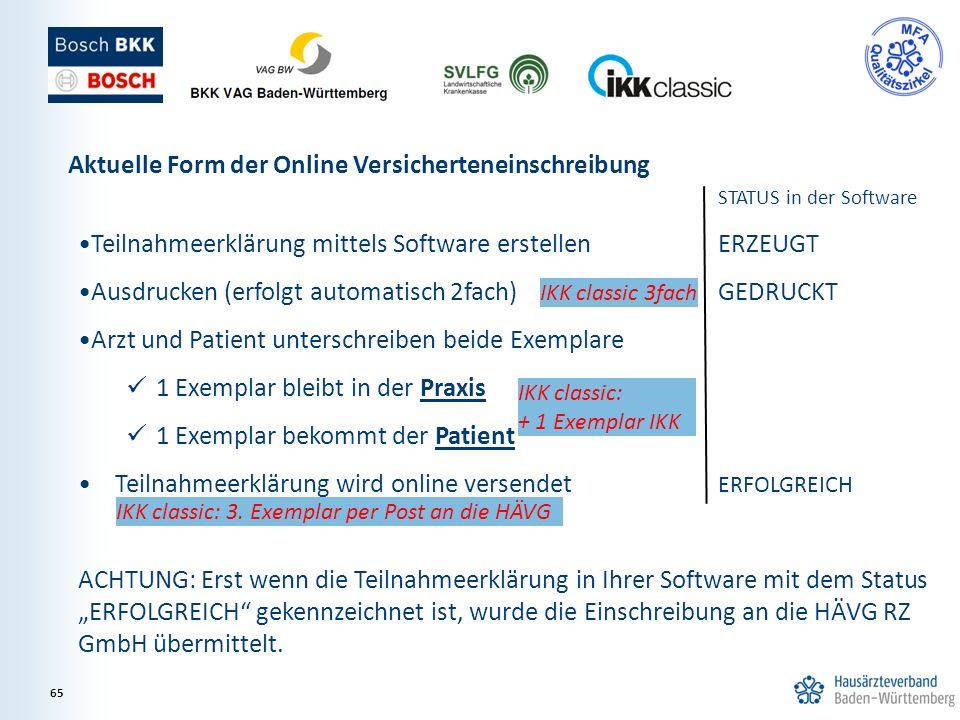 STATUS in der Software Teilnahmeerklärung mittels Software erstellenERZEUGT Ausdrucken (erfolgt automatisch 2fach) GEDRUCKT Arzt und Patient unterschr