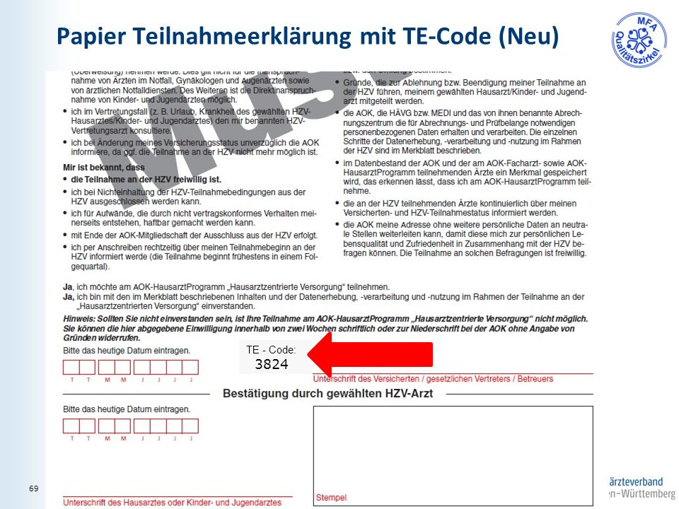 Papier Teilnahmeerklärung mit TE-Code (Neu) TE - Code: 3824 69