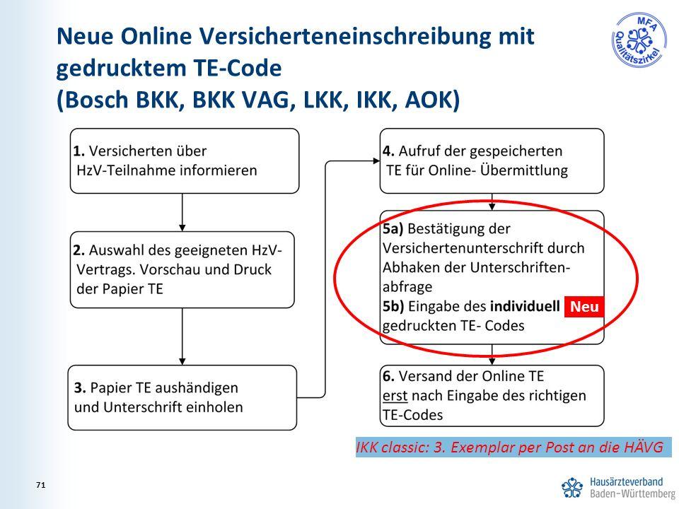 Neue Online Versicherteneinschreibung mit gedrucktem TE-Code (Bosch BKK, BKK VAG, LKK, IKK, AOK) IKK classic: 3. Exemplar per Post an die HÄVG 71 Neu