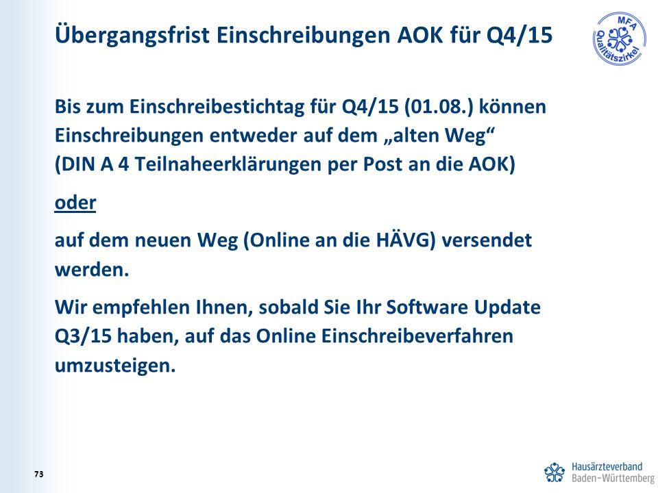 """Übergangsfrist Einschreibungen AOK für Q4/15 Bis zum Einschreibestichtag für Q4/15 (01.08.) können Einschreibungen entweder auf dem """"alten Weg"""" (DIN A"""