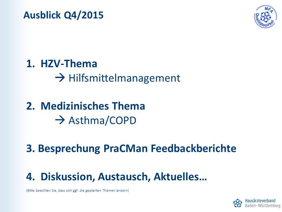 1. HZV-Thema  Hilfsmittelmanagement 2. Medizinisches Thema  Asthma/COPD 3. Besprechung PraCMan Feedbackberichte 4. Diskussion, Austausch, Aktuelles…
