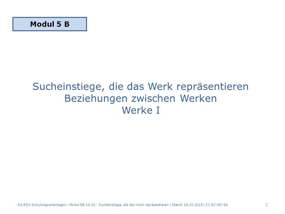 Sucheinstiege, die das Werk repräsentieren Beziehungen zwischen Werken Werke I AG RDA Schulungsunterlagen – Modul 5B.16.01: Sucheinstiege, die das Wer