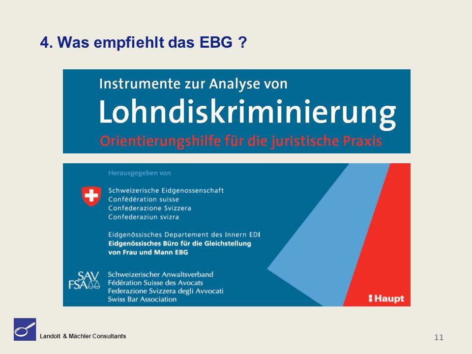 Landolt & Mächler Consultants 4. Was empfiehlt das EBG ? 11