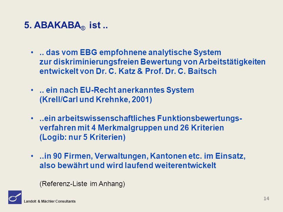 Landolt & Mächler Consultants 5. ABAKABA ® ist.... das vom EBG empfohnene analytische System zur diskriminierungsfreien Bewertung von Arbeitstätigkeit