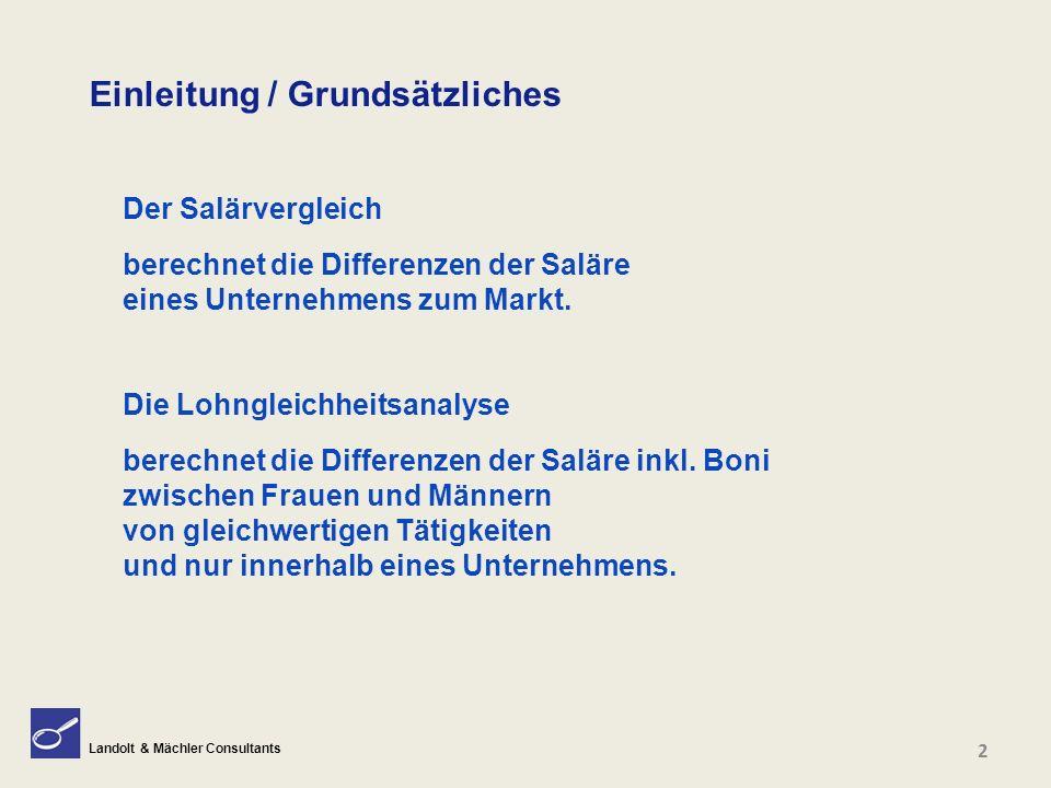 Landolt & Mächler Consultants Einleitung / Grundsätzliches Der Salärvergleich berechnet die Differenzen der Saläre eines Unternehmens zum Markt. Die L